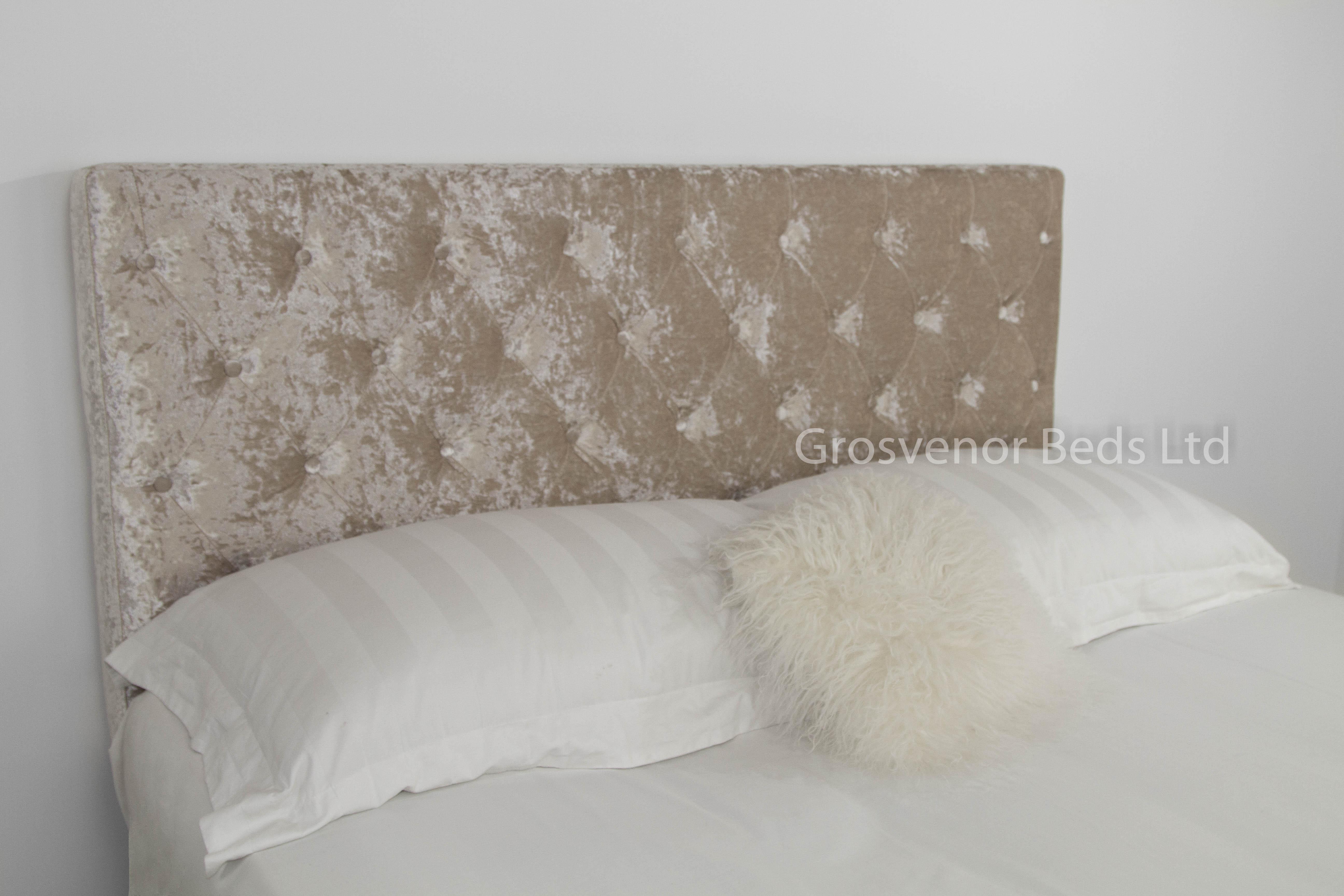 Upholstered Beige Crushed Velvet Divan Headboard Double