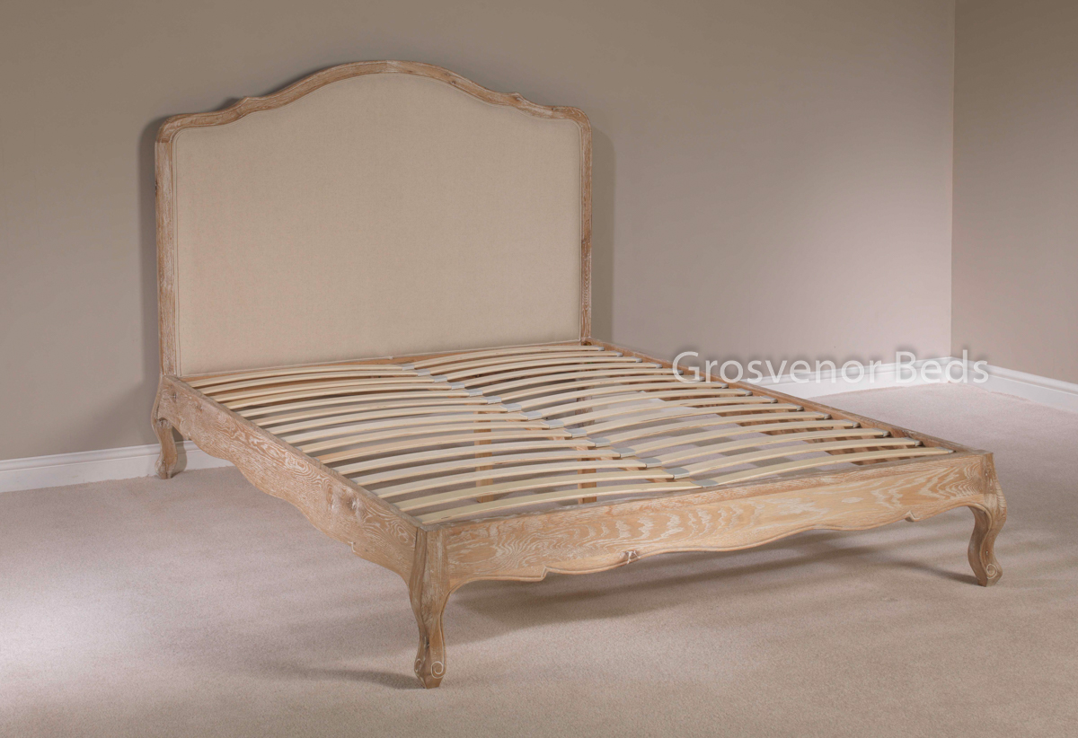 New white wash limed solid oak upholstered french style for French country style beds