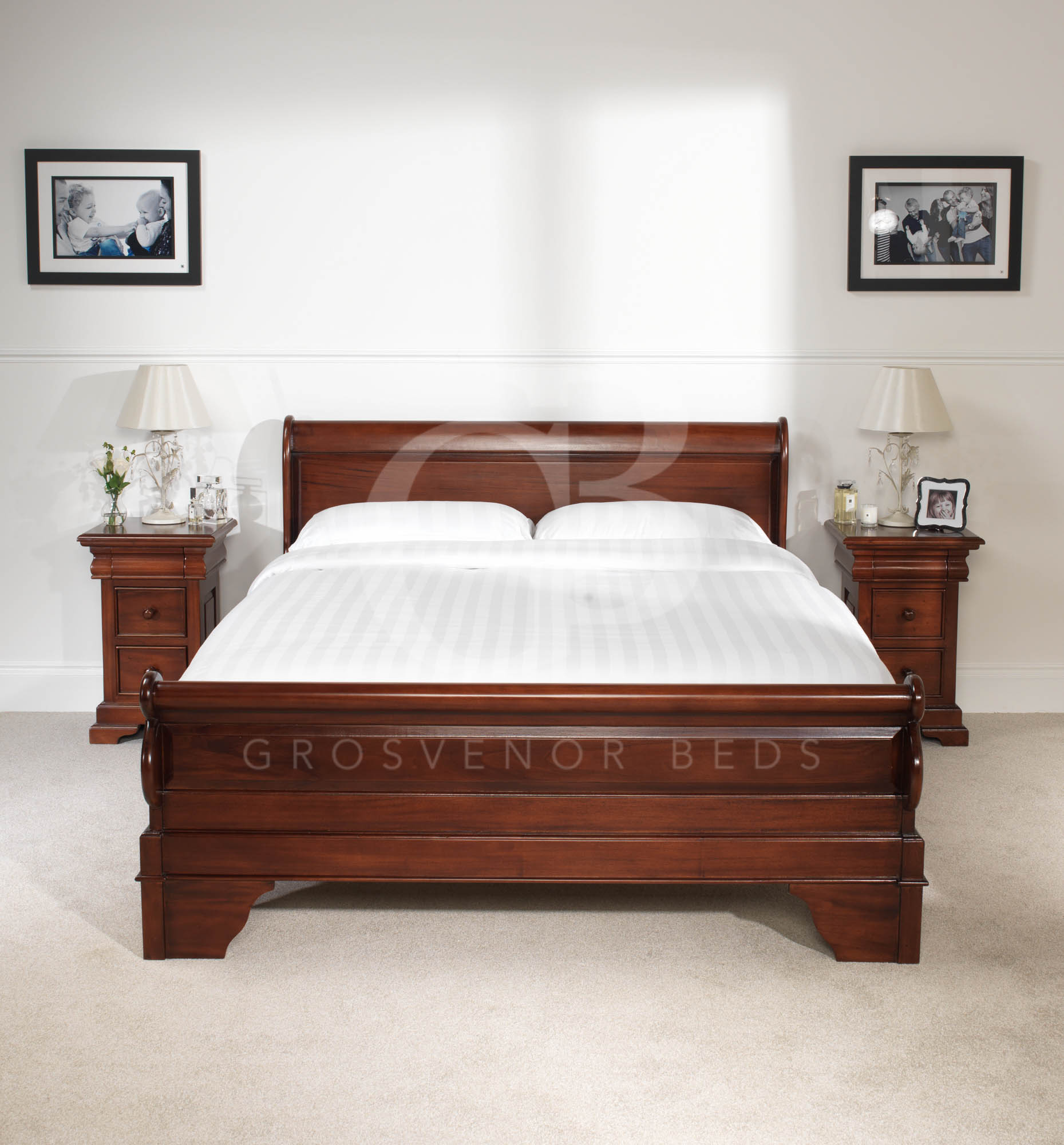 New 5ft King Size Solid Mahogany French Sleigh Bed Low