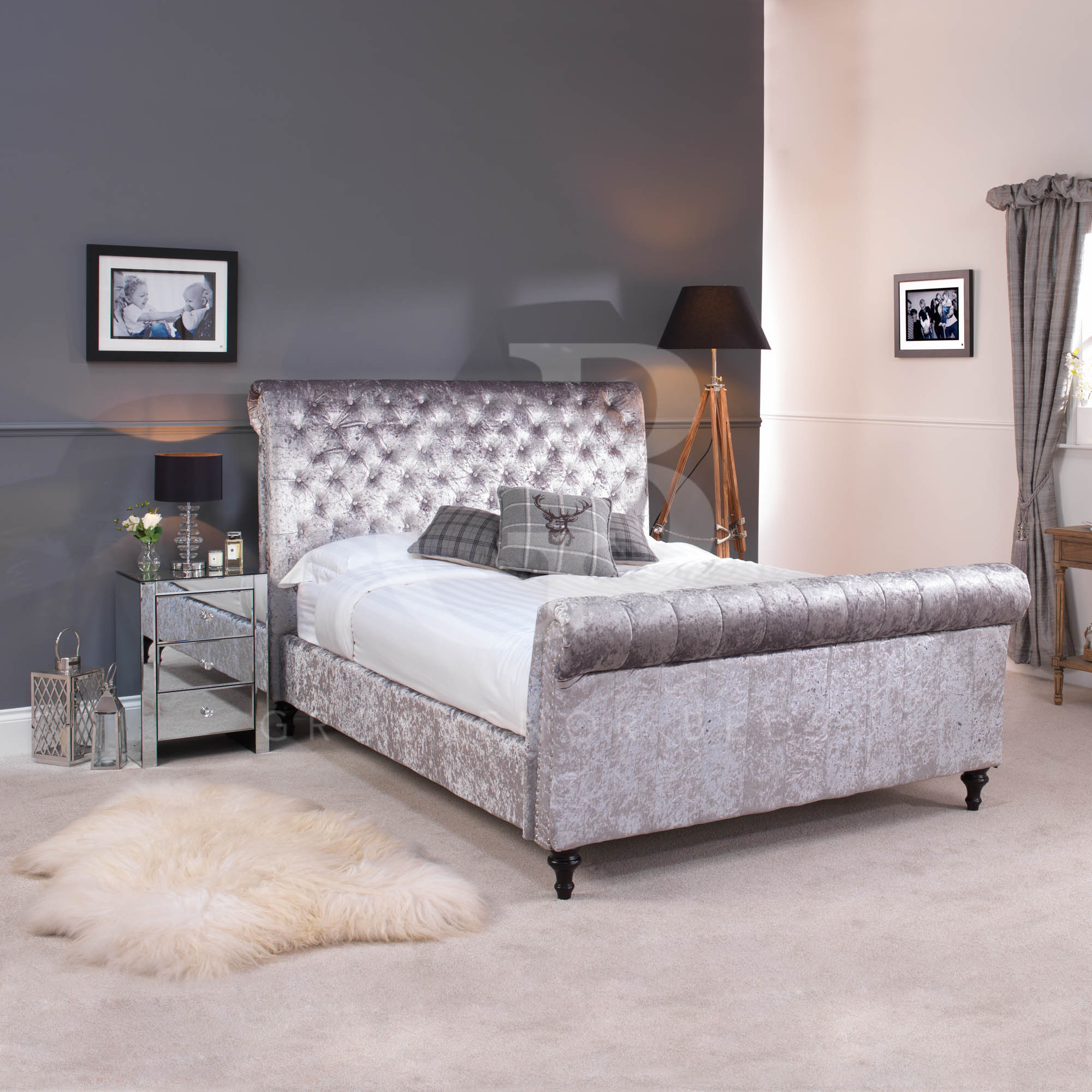 crushed velvet silver grey chesterfield bed in double