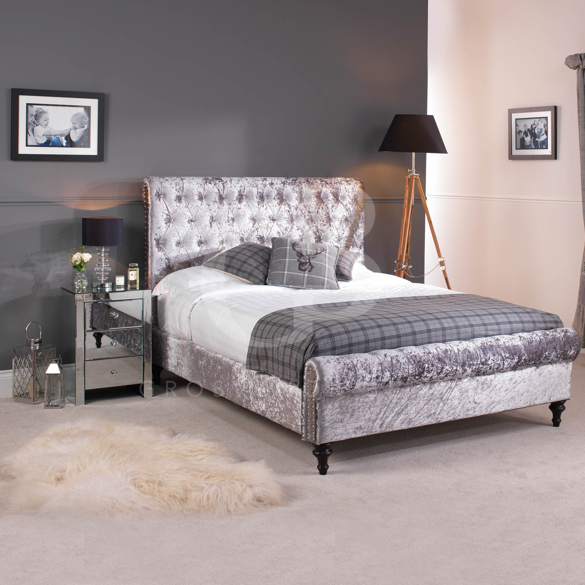 New premium silver grey crushed velvet chesterfield for Bedroom ideas velvet bed