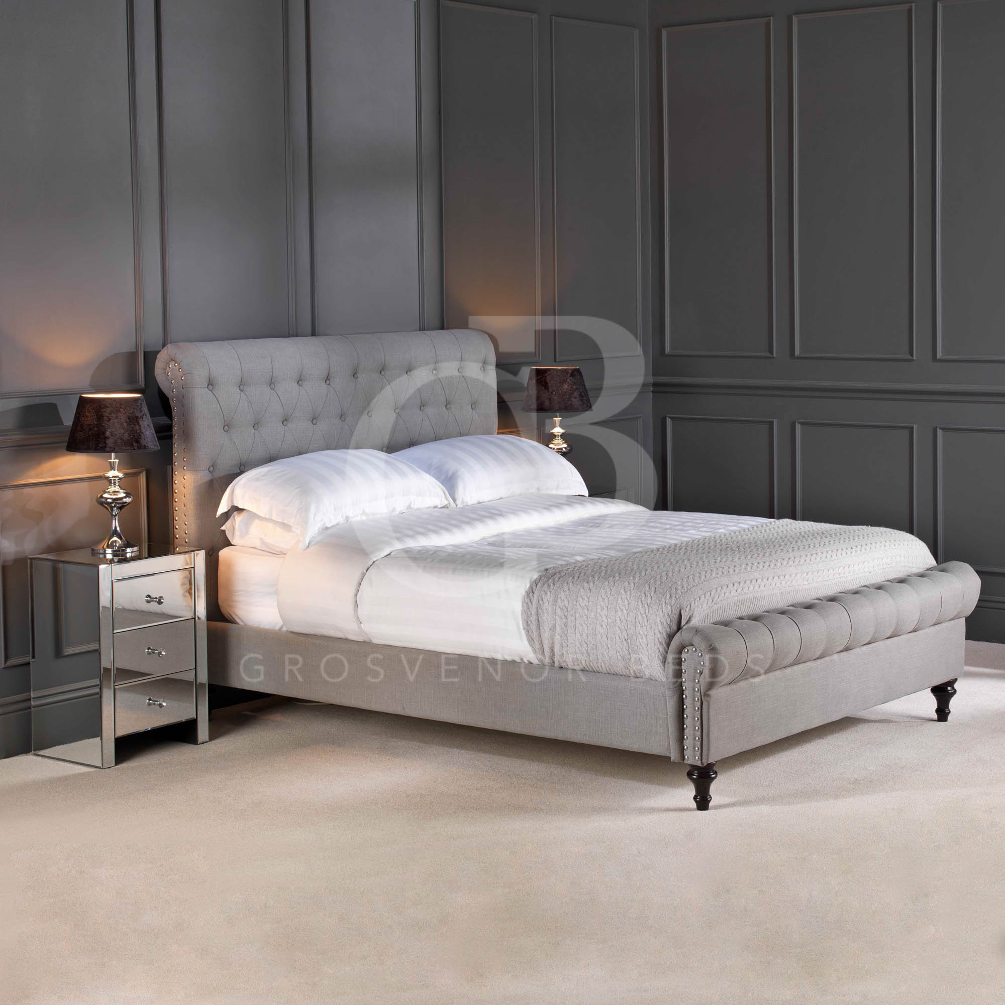 Premium Upholstered Linen Chesterfield Bed In Double King Super King Ego1220s Ebay