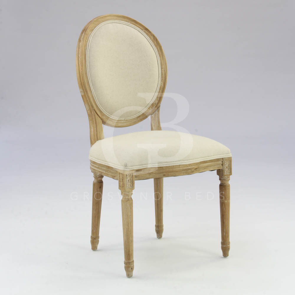 French style limed oak upholstered dining chairs kitchen for Dining chairs with upholstered seats
