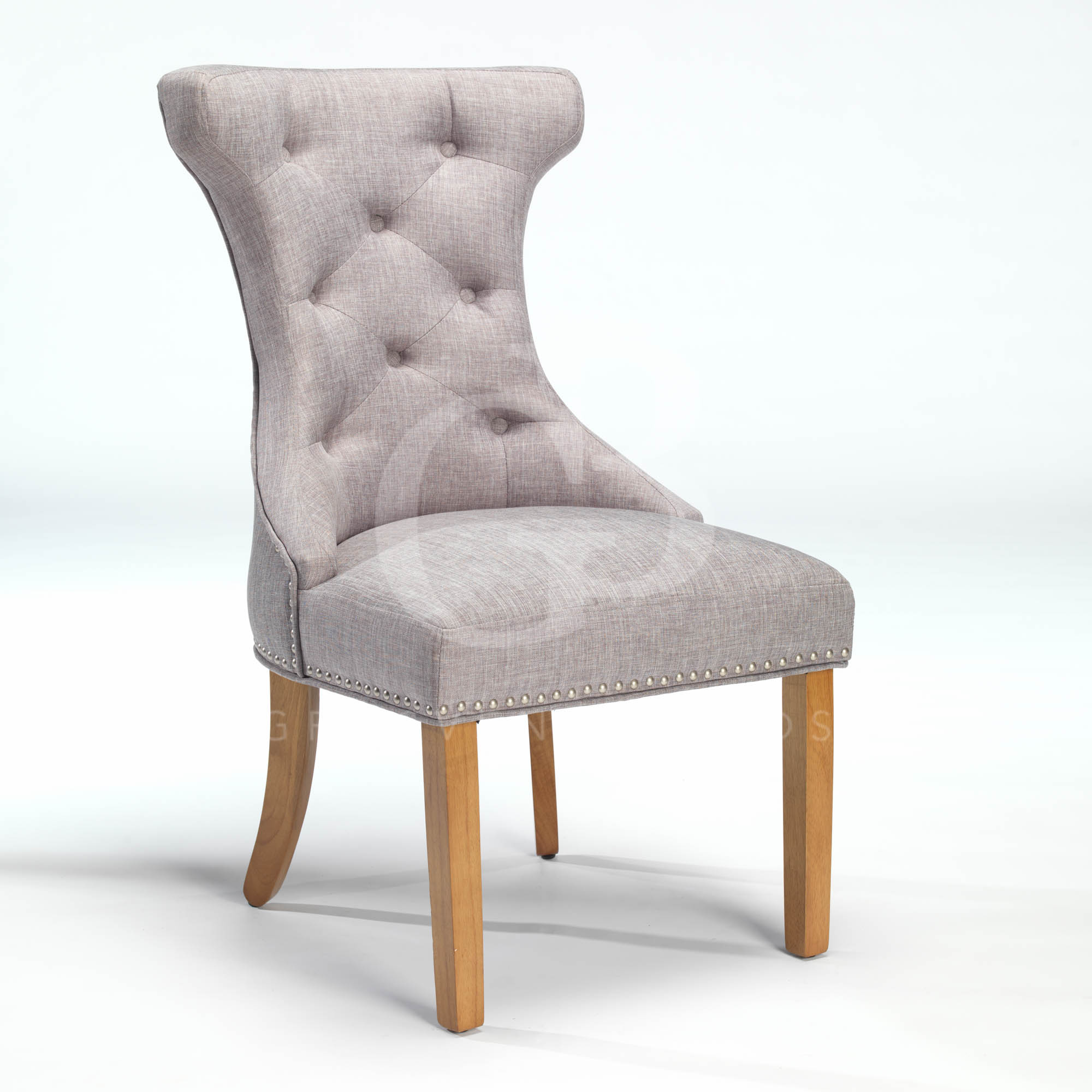 New upholstered wing back dining chair with nickel studs for Wing back dining chairs