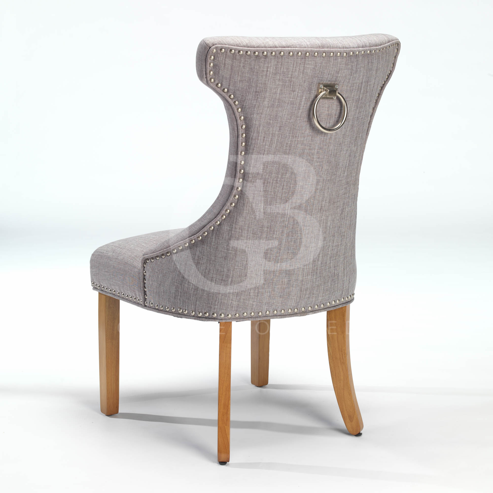 New upholstered wing back dining chair with nickel studs for Upholstered studded dining chairs
