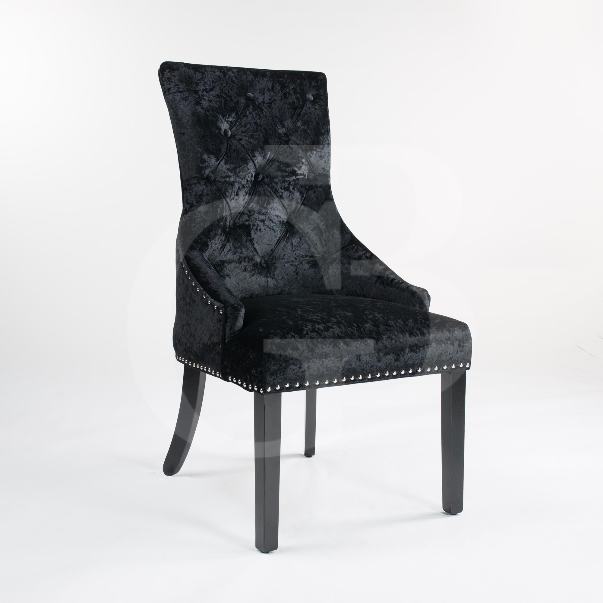 Black Upholstered Crushed Velvet Dining Chair With Chrome