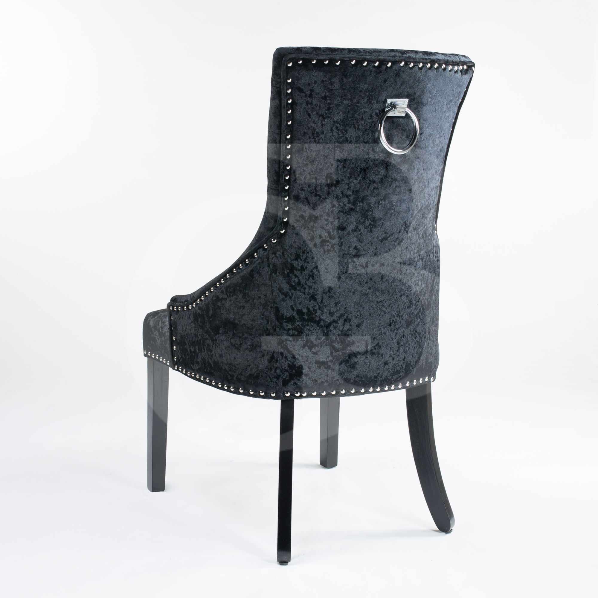 black upholstered crushed velvet dining chair with chrome studs ring egb70 b ebay. Black Bedroom Furniture Sets. Home Design Ideas