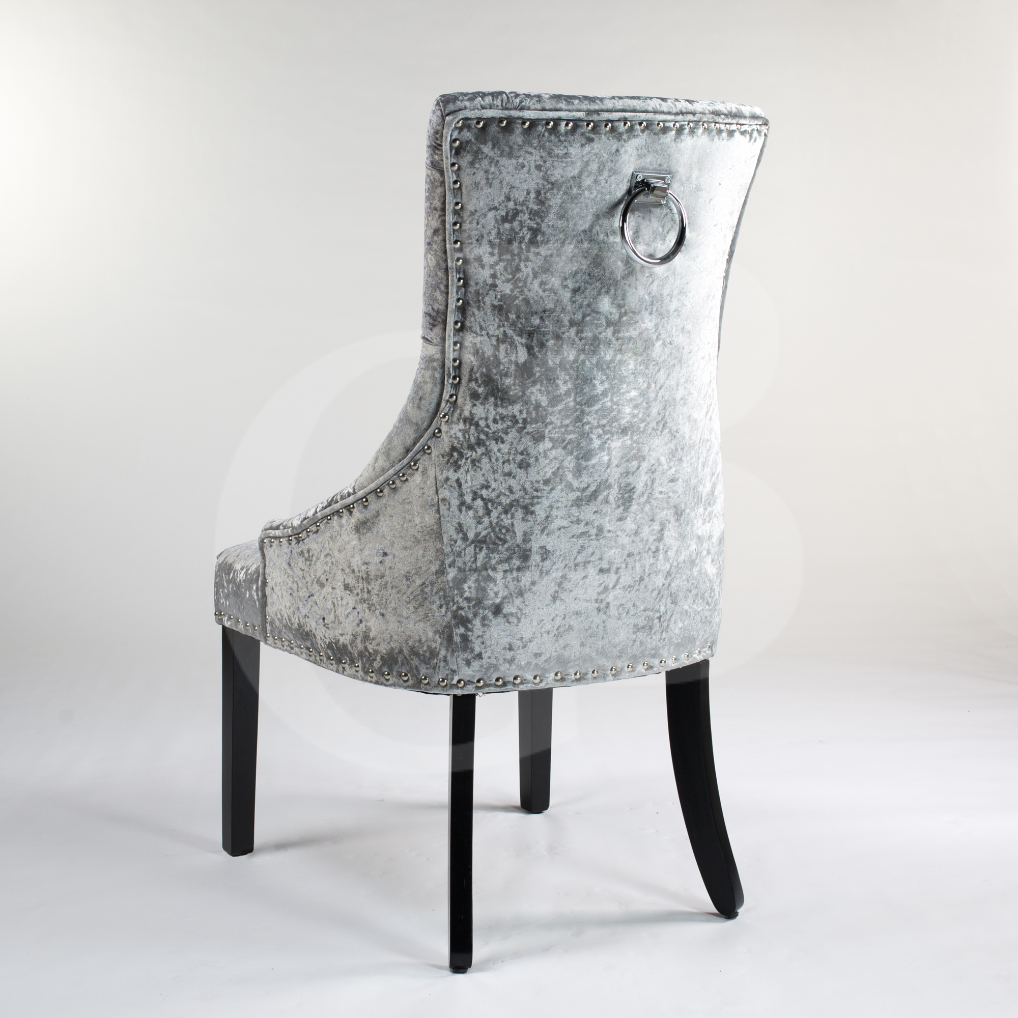 Silver Upholstered Crushed Velvet Dining Chair With Chrome