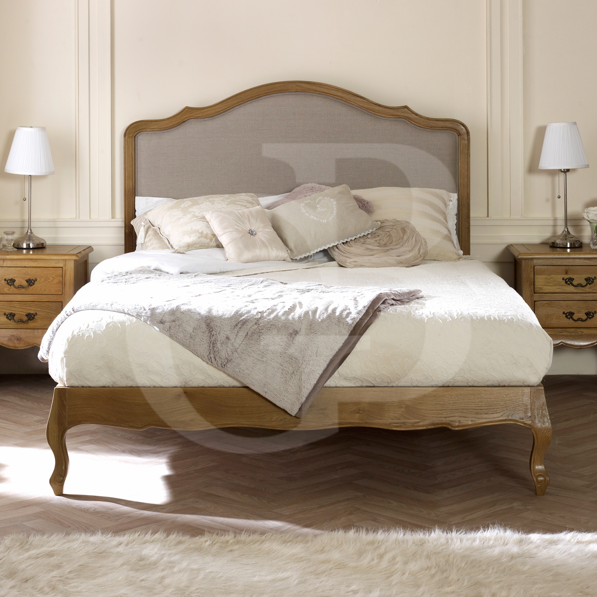 Egb50 French Solid Oak Linen Upholstered Bed In Double