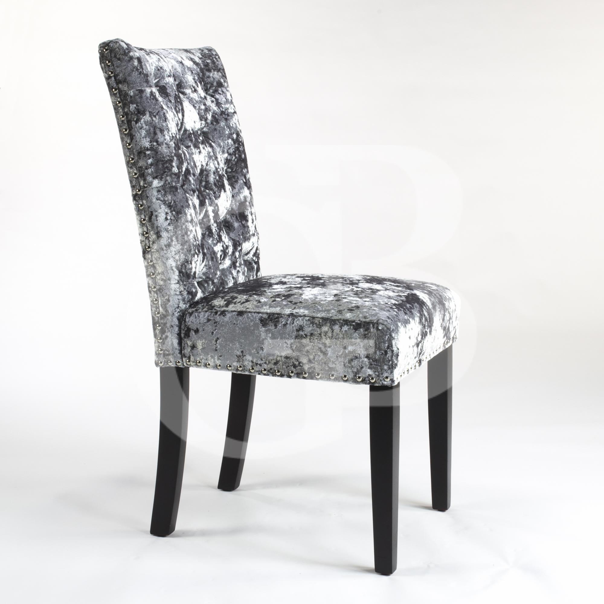 upholstered premium grey crushed velvet dining chairs egb76 pg ebay