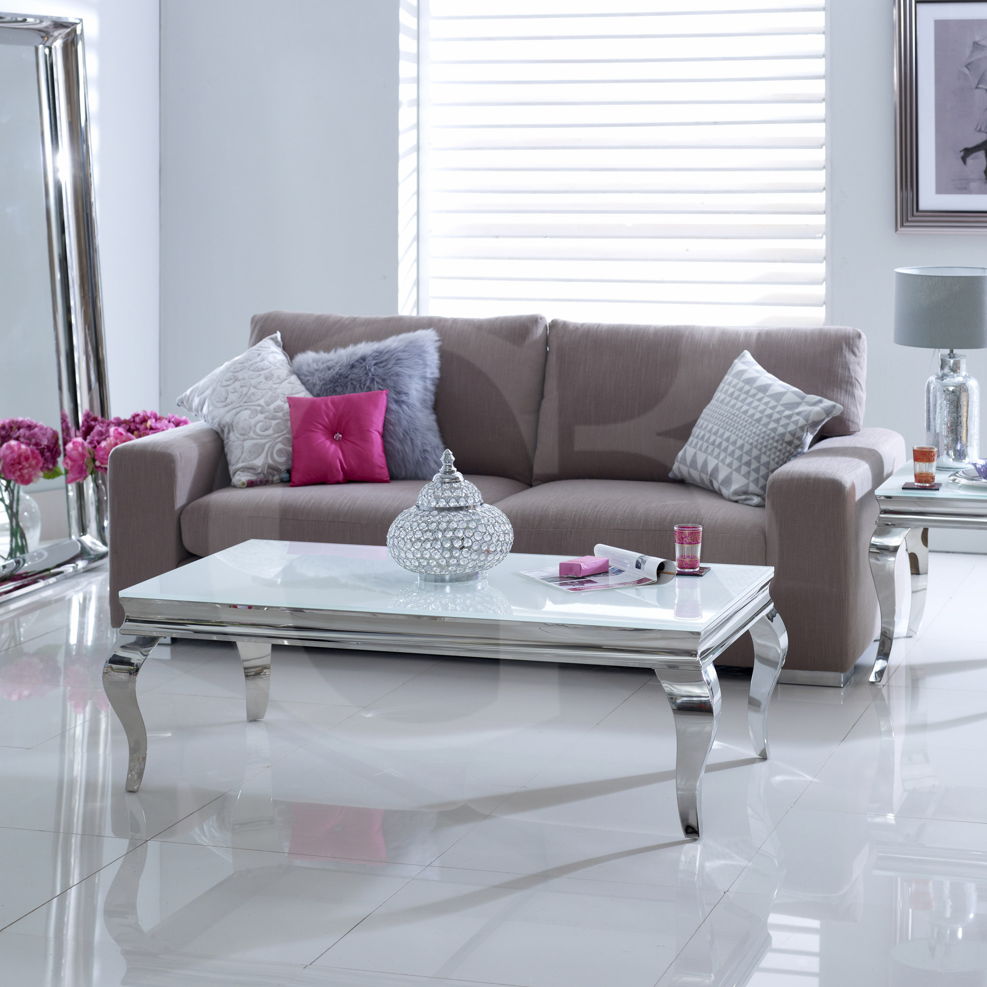 EGB100-W New Juliette Stainless Steel Chrome Coffee Table