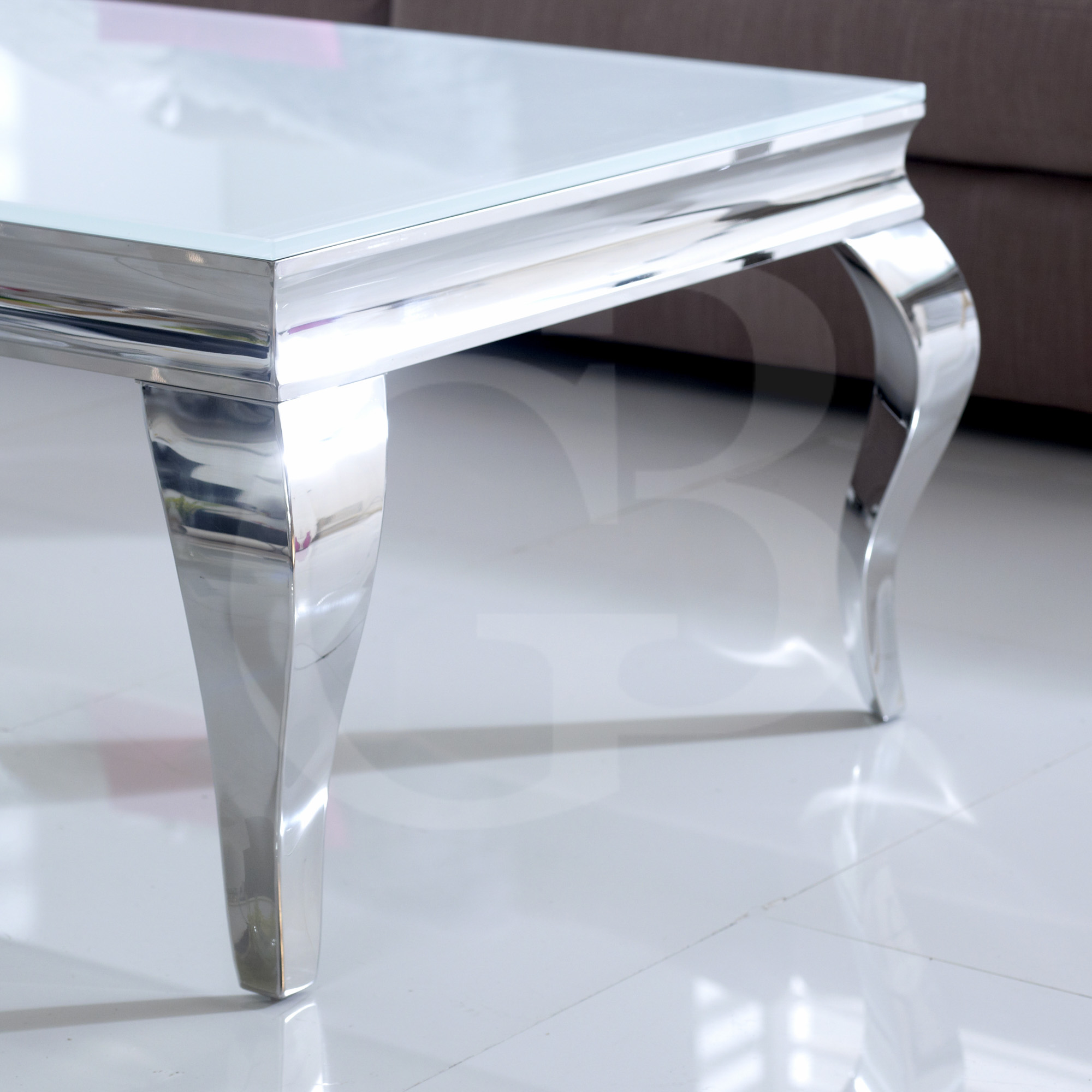White And Chrome Coffee Table: EGB100-W New Juliette Stainless Steel Chrome Coffee Table