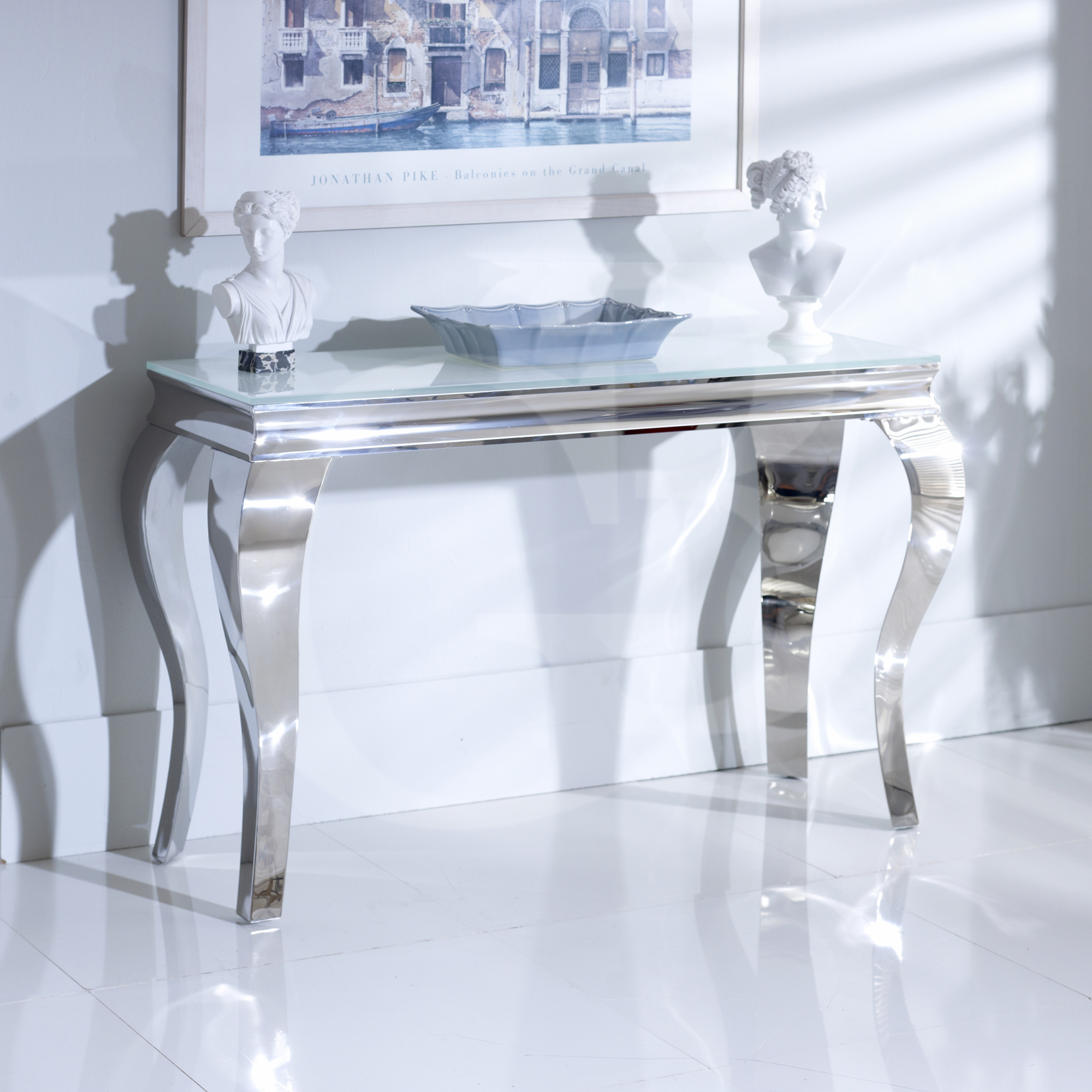 New Juliette Stainless Steel Chrome Console Table With