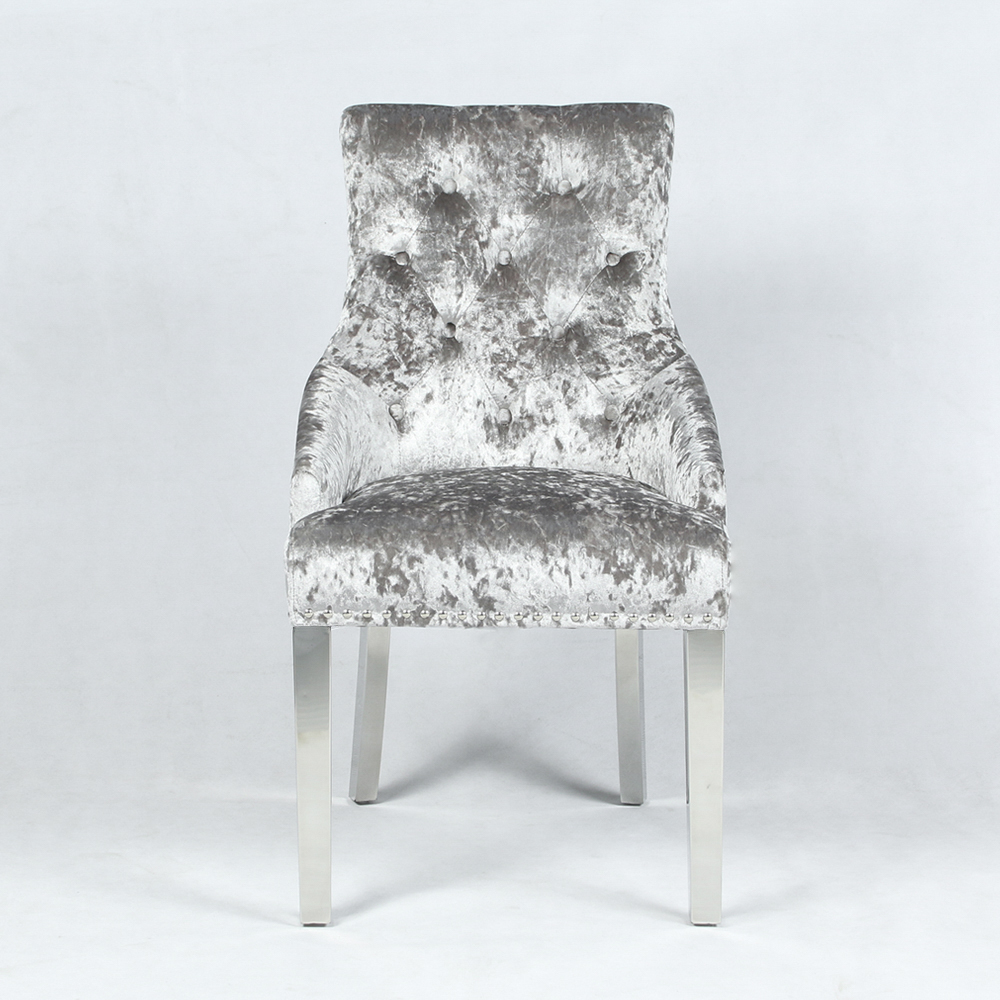 New Chelsea Silver Crushed Velvet Dining Chair With Hoop